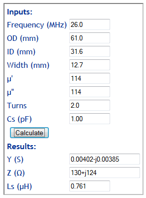 a new impedance calculator for rf inductors on ferrite